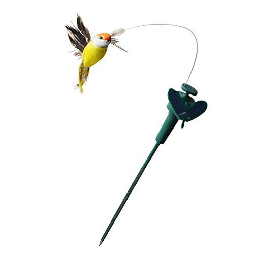 F Fityle Solar Tanzender Schmetterlinge Stick Kolibri Gartenstecker Blumenstecker Gartendeko - Gefiederter Vogel, 35x8cm