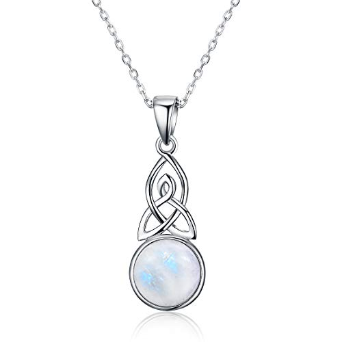 Natural Moonstone necklace for Women 925 Sterling Silver Celtic Knot Pendant Jewelry