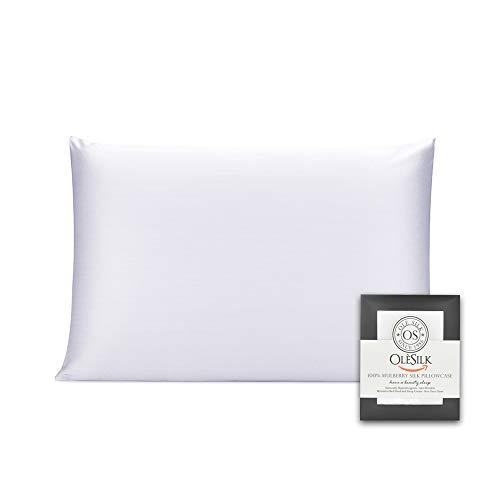 OLESILK - Funda de almohada de seda de morera 100% con cremallera oculta para el pelo y la piel, ambos lados 16 mm caja de regalo Charmeuse 1 unidad, seda sintética, Blanco, 50x75cm