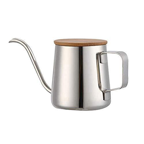1 STKS Roestvrijstalen Waterkoker Kop Houten Deksel Giet Over Koffiepotten Druppel Cappuccino Theepot en Pot Smalle Koffie-uitloop Lang