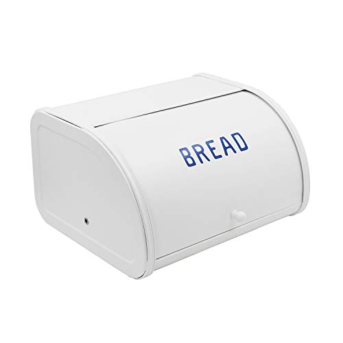 4W Bread Box, Metal Bread Boxes for Kitchen Bread Bin Holder with Roll Top Lid Storage for Loaves, Dinner Rolls, Pastries - White