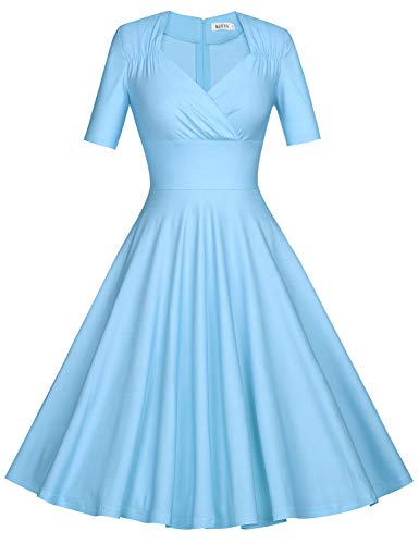 MUXXN Ladies Elegant Short Sleeves Light Blue Beach Summer A Line Dress (Airy Blue L)