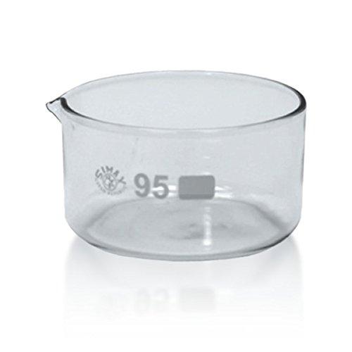1 x Kristallisierschale 300 ml aus Borosilikatglas 3.3 mit Ausguss DIN 12338 - Höhe 55 mm - Ø 95 mm - Abdampfschale