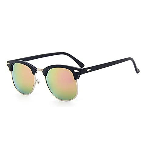 MVAOHGN Medio Metal Moda Gafas de Sol Hombres/Mujeres Diseñador de Marca Remache Retro Lente de Classic Sun Glasses Mujer UV400 (Lenses Color : C4)
