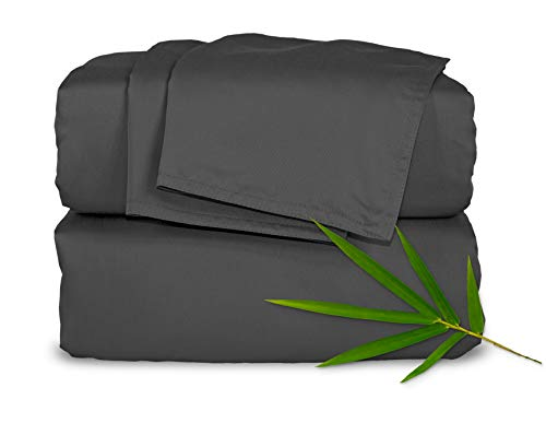 "Pure Bamboo Sheets - King Size Bed Sheets 4-pc Set - 100% Organic Bamboo - Incredibly Soft - Fits Up to 16"" Mattress - 1 Fitted Sheet, 1 Flat Sheet, 2 Pillowcases (King, Charcoal)"