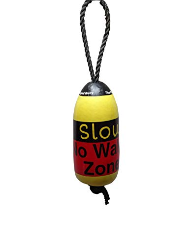 Pier37wrappedbuoys Yellow with Red Slow No Wake Zone Maine Lobster Buoy # 12