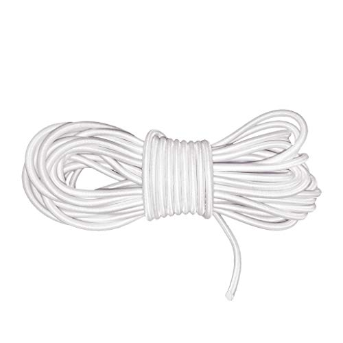 10mx4mm Marine Grade Bungee Shock Cords Elastic Tie Down Straps Cable Kayak Stretch String Rope for Marine Kayak, Trailer Strap, Shoe Laces, Hammocks, DIY Crafting (White)