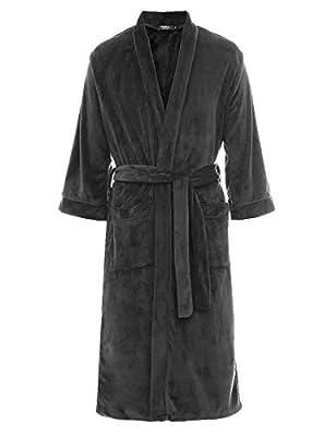 FISOUL Mens Fleece Robes Plush Shawl Collar Nightwear Kimono Bathrobe Robe