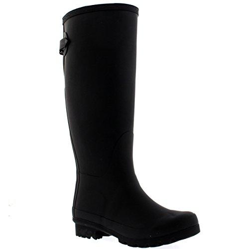 Womens Adjustable Back Tall Waterproof Winter Rain Wellies Wellington Boots - Black - 8-39 - CD0013