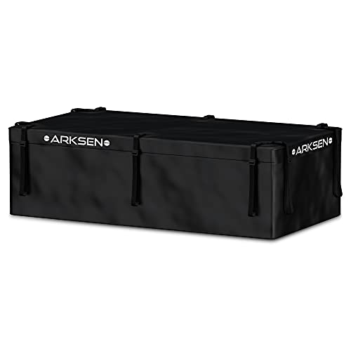 ARKSEN 21.5 Cubic Feet Soft-Shell Waterproof Roof Top Luggage Storage Bag Heavy Duty Car Carrier with 10 Reinforced Straps, External Anti-Slip Mat, 6 Door Hooks, for All Vechicles with/Without Rack