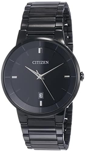 Citizen Men's Stainless Steel Japanese-Quartz Watch with Stainless-Steel Strap, Black, 21 (Model: BI5017-50E)