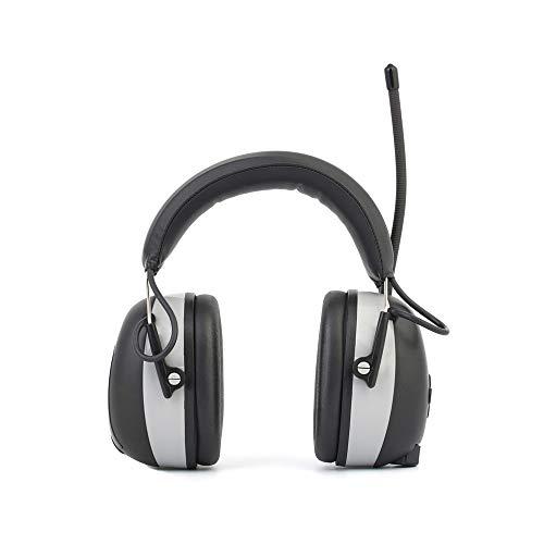 Orejeras de protección Orejeras de seguridad eléctricas recargables con Bluetooth, radio FM / AM digital y defensa para el oído con reducción de ruido incorporada con llamada manos libres, auriculares