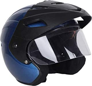 TRYFLY OPEN FACE UNISEX ISI APPROVED Motorbike Helmet With cap (Blue)