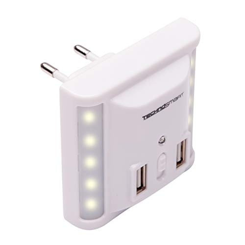 TECHNOSMART LED-Nachtlichtaansluiting, Met 2 USB-Poorten USB-lader, LED-wandlamp dimbaar, 0,3 W energiezuinig met schemersensor en warmwit licht.