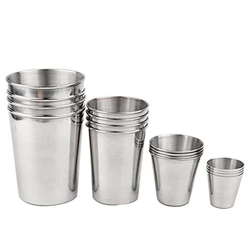 HTRTH 8 PCS Copa de Cerveza de Metal Copa de Vino Taza de café Tazas Tazas Tazas Tazas de Acero Inoxidable Tumblers para el hogar para el hogar Bar de Cocina Mini Beber Taza de Vino 715 (Color : 03)