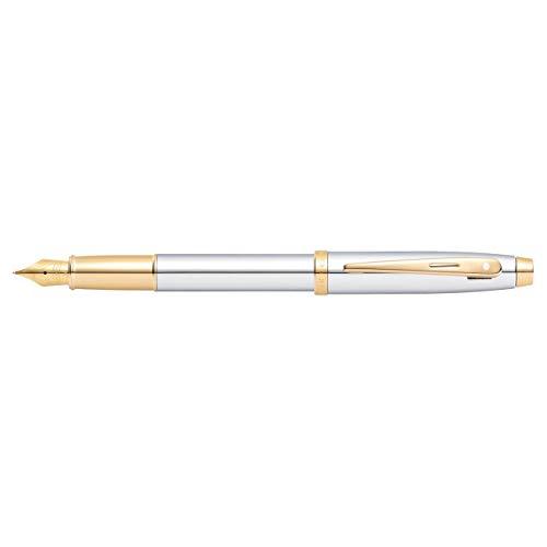 Sheaffer 100 Chrome Fountain Pen with Gold Tone Trim and Medium Nib
