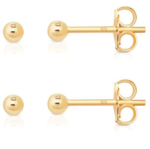 DTPsilver Conjunto de 2 Pendientes Semental de plata en forma de Esfera/Bola - Plata 925 - Plateada en Oro Amarillo - Diámetro 2 mm