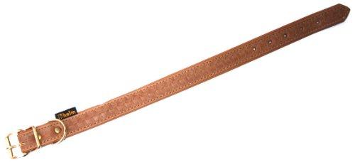 Heim 376840799M Tredi Collier en Cuir pour Chien Cognac/Doublure de même Couleur Motif en sur-Impression 20 mm x 40 cm