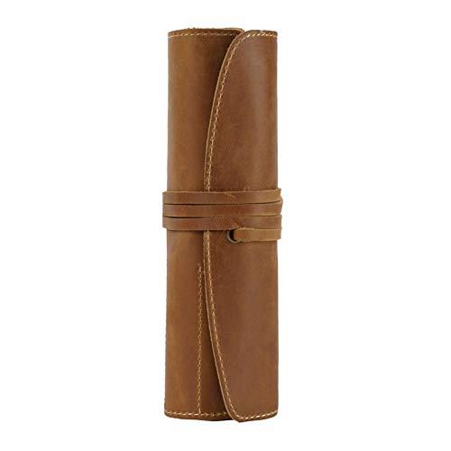 Bolsa de Pluma Funda de Lápiz Cosas vintage Papelería de cuero genuino Papel de lápiz hecho a mano Arte Uni College Suplicies Roll Wrap Holder Unisex Portalápices ( Color : Brown , Size : 20.2x19cm )