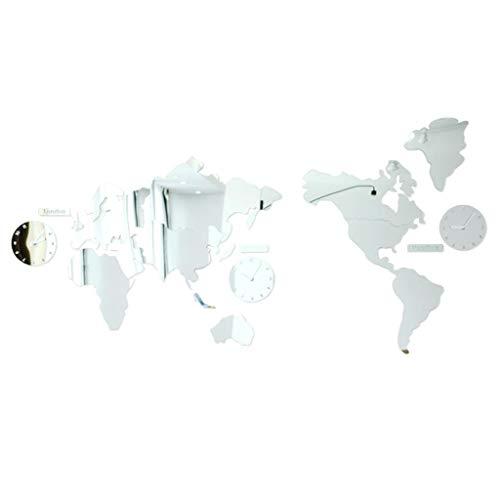 Q-HL Reloj de Pared Espejo acrílico Europeo Mapa del Mundo Dormitorio Reloj Mudo Personalidad silenciosa Decoración de la Oficina Decoración del hogar Interior, Reloj de Funcionamiento con batería
