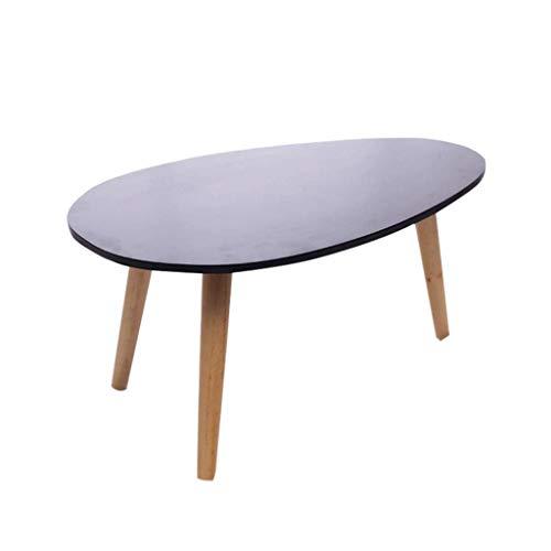 Table Basse Ovale en Bois Massif Petit Thé Multi-Fonction Côté Portable Salon Chambre À Coucher Bureau Noir Pourpre