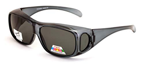 V.W.E. Polarized Fit Over Glasses Sunglasses 60mm Rectangular Frame Black Brown (Gray)