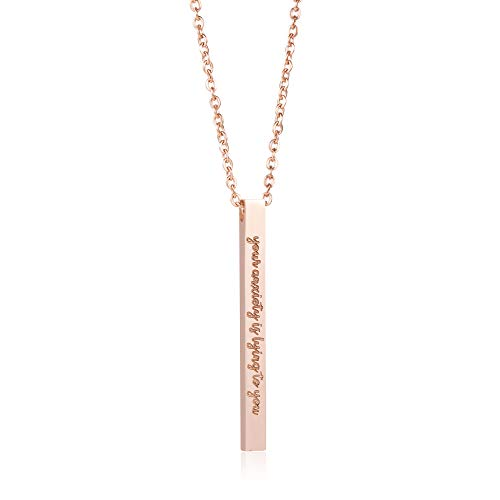 Joycuff Your Anxiety is Lying to You Necklace for Girls Vertical Bar Necklaces Silver Stainless Steel Pendant Jewelry Personalized Gift for Women