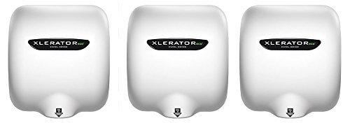 Excel Dryer XLERATOReco XL-BW-ECO 1.1N High Speed Commercial Hand Dryer, White Thermoset Cover, Automatic Sensor, Surface Mount, Noise Reduction Nozzle, LEED Credits, No Heat 4.5 Amps 110/120V (3 PK)