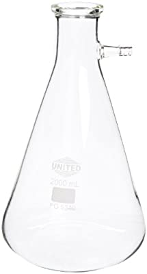 United Scientific FG5340-2000 Borosilicate Glass Heavy Wall Filtering Flask, Bolt Neck with Tubulation, 2000ml Capacity from United Scientific Supplies