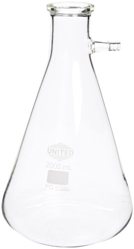 United Scientific FG5340-2000 Borosilicate Glass Heavy Wall Filtering Flask, Bolt Neck with Tubulation, 2000ml Capacity