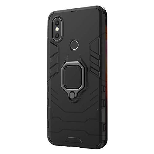 Funda Xiaomi Mi A2 / 6X Carcasa, Borde de Silicona Negro Duro PC Case Anti-Arañazos, Anti-Golpes, con Anillo Grip Kickstand para Xiaomi Mi A2 / 6X (Xiaomi Mi A2 / 6X, Negro)