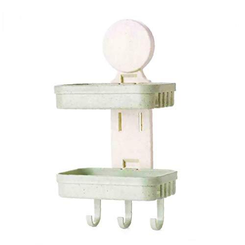 Las capas dobles de trigo de la paja champú titular con ganchos para no dejar rastro Palo Escurrir Champú plato montado en la pared champú caja para el baño (verde) para el almacenamiento