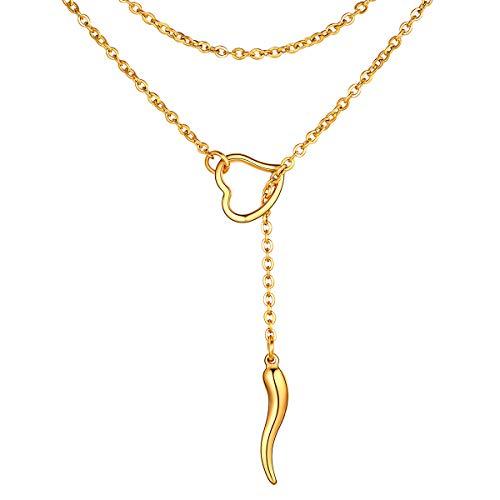 FOCALOOK Damen Y-Kette 18k vergoldet 80cm lang Rolokette mit Italienischen Horn und Herz Ring Anhänger einfach Cornicello Lariat Halskette Geschenk für Mädchen Accessoire für V-Ausschnitt Pullover