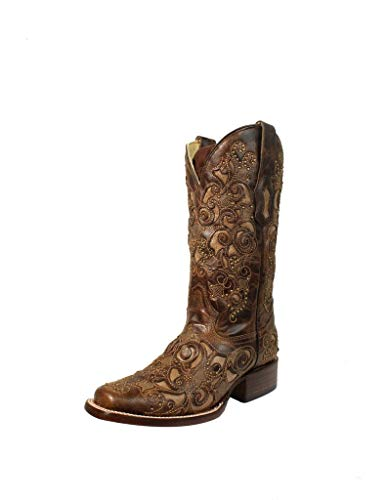 Corral Women's Brown Inlay & Studs with Embroidery Square Toe Pull-On Cowboy Boots - 10 B