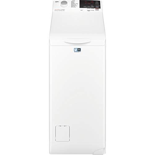 AEG L6TBG721 Lavadora de Libre Instalación, Carga Superior, 7 Kg, 1200 rpm, 11 Programas, Programa Rápido 20 min, Inicio Diferido, Autoposicionamiento Tambor, Apertura Suave, LCD, Blanca