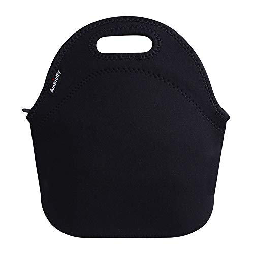 Ambielly Neoprene Lunch Bag/Lunch Box/Lunch Tote/Picnic Bags Insulated Cooler Travel Organizer (Black)