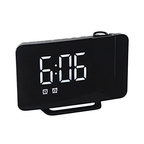 A/A MOTINGDI LED sveglia digitale tavolo comodino scrivania orologio USB sveglia FM radio proiettore camera da letto sveglia