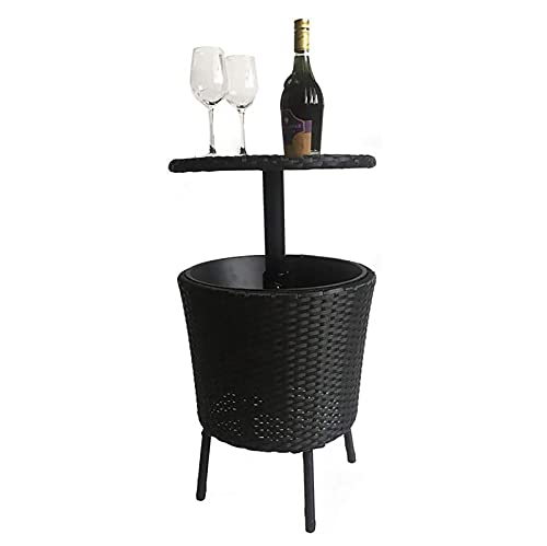 QWEAS - Tavolo da bar in vimini 3 in 1, in vimini intrecciato a mano, altezza regolabile per esterni, per feste, piscina, terrazza, cortile, colore: nero