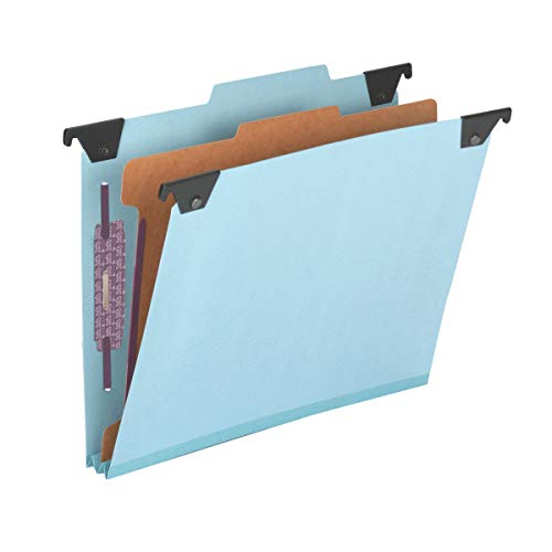Smead FasTab Hanging Pressboard Classification Folder with SafeSHIELD Fasteners, 1 Divider, 2/5-Cut Built-in Tab, Letter Size, Blue, 10 per Box (65105)
