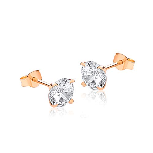 Carissima Gold Women's 9ct Rose Gold 7mm Round CZ Stud Earrings