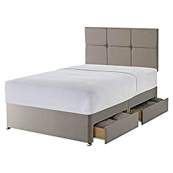 A fully upholstered divan base and headboard finished in high quality fabric, designed to complement your mattress and bedroom style. The divan base rests on castors for easy movement The Paris headboard is padded for supreme comfort whilst offering ...