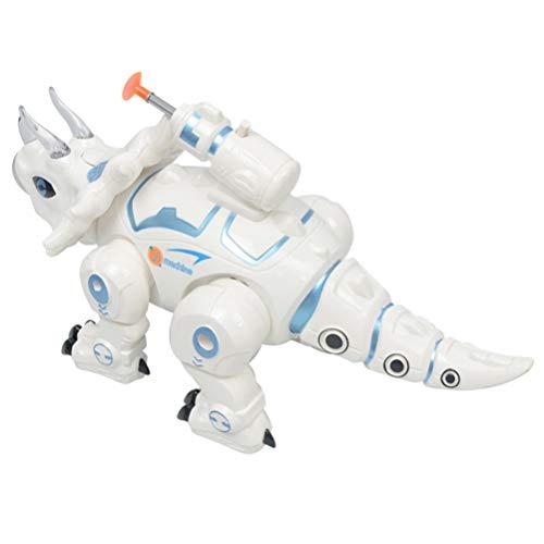 TOYANDONA Dinosaurio Robot Juguete sin Batería Spray Niebla Dinosaurio Triceratops Juguete Robot Modo de Caminar Juguetes para su Hijo Hija Sobrino (Blanco)