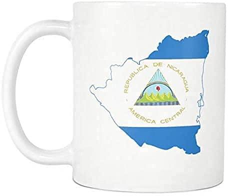 Nicaragua-Flagge & Wappen in Form der Landkarte Kaffeetasse 166K