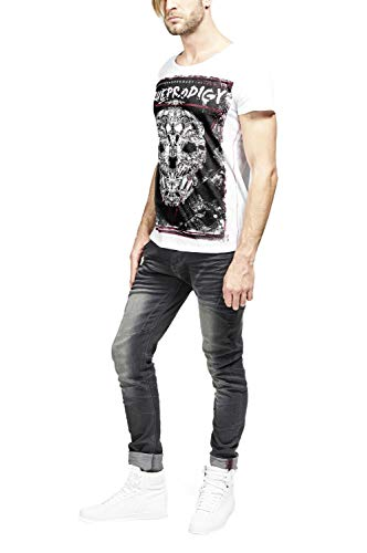 trueprodigy Casual Hombre Marca Camiseta con impresión Estampada Ropa Retro Vintage Rock Vestir Moda Cuello Redondo Manga Corta Slim fit Designer Fashion t-Shirt, Colores:White, Tamaño:L