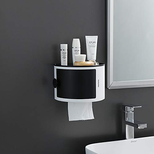 JSANSUI Humidificador ultrasónico Papel higiénico Titular Granel WC Completo Caja del Tejido Impermeable Rollo de Papel higiénico en Rack de Almacenamiento de cosmética Caja de Pared de baños Estante