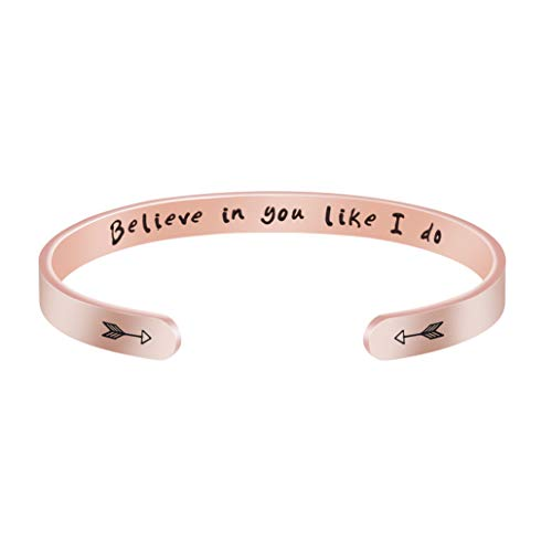18K Rose Gold Jewelry Inspirational Gift for Her Engraved Believe in You Like I Do Cuff Bracelet