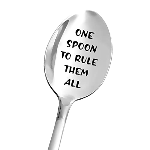 Funny One Spoon to Rule Them All Spoon Engraved Stainless Steel for Women Men - Coffee Lovers Tea Lover Gift for Dad Papa Mom Nana Daughter Son Friends - Perfect Gifts for Birthday/Valentine/Christmas