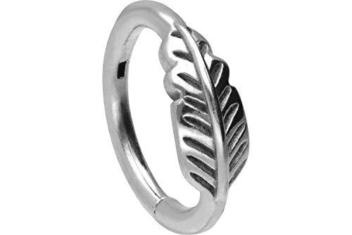 PIERCINGLINE Chirurgenstahl Segmentring Clicker | FEDER | Piercing Ring Nase Septum Ohr Helix Tragus | Farb & Größenauswahl