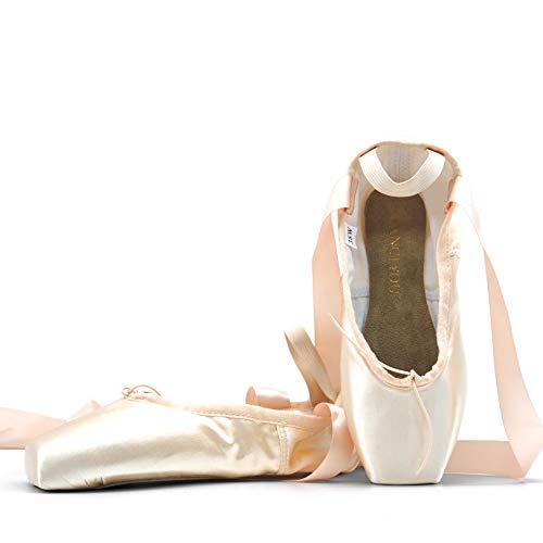 DANCEYOU Zapatillas de Ballet con Cintas de Raso Zapatos de Media Punta en Rosa para Principiantes y Profesionales, Suela Blanda 35 EU