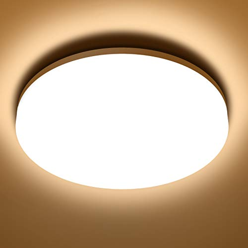 NIXIUKOL Plafón LED Techo 18W 1800LM, Lámpara Techo para Baño 3000K Blanco Cálido, IP54 Impermeable, Led de Techo para...
